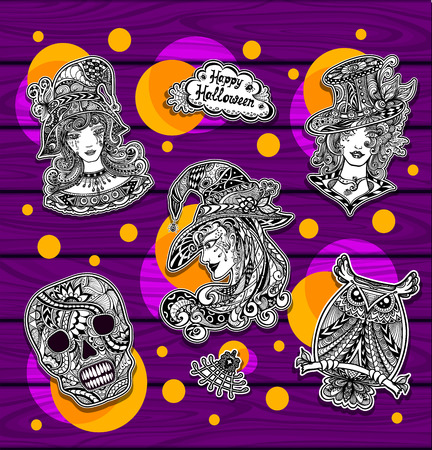 Set creative stickers for coloring on Halloween with witches owl skull black and white or for banners Illustration