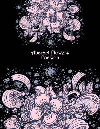 Template with abstract flowers bouquet pink on black for decoration for perfume or for cosmetic shampoo Illustration