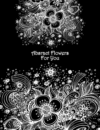 Template with abstract flowers bouquet on white background for sale Illustration