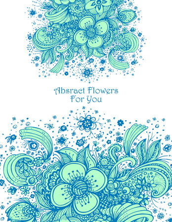Template with abstract flowers bouquet on white background composition for perfume or for cosmetic shampoo