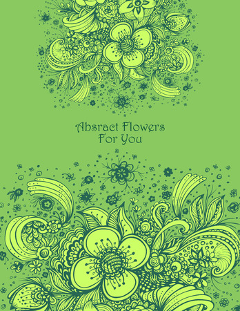Template with abstract flowers bouquet in green colors composition for perfume or for cosmetic shampoo