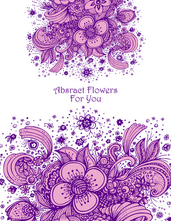 Template with abstract flowers bouquet lilac on white background composition for perfume or for cosmetic shampoo Illustration