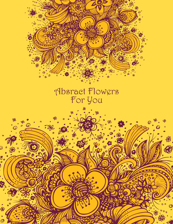 Template with abstract flowers bouquet in orange colors for sale