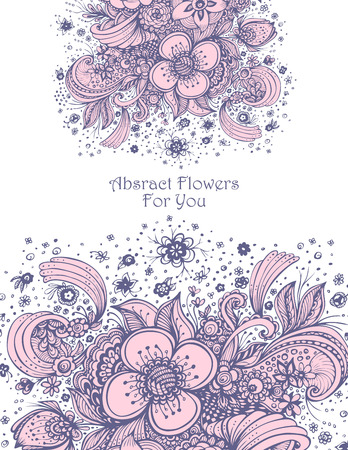 Template with abstract flowers bouquet pink on white background composition for perfume or for cosmetic shampoo Illustration