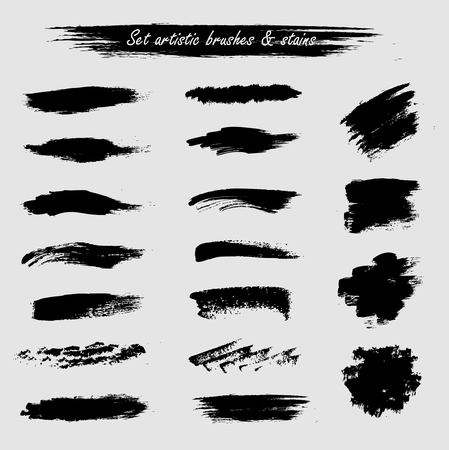 Set of artist acrylic hard brushes and stains frames black on white isolated for creative design or for paint or for grunge. Vector trend element