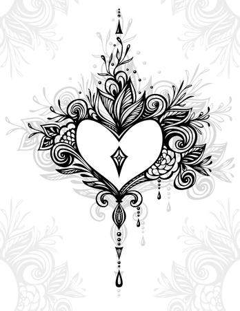 Handgefertigte Zentangle Herz mit Blumen im Boho-Stil für Tattoo oder Malvorlagen oder für Dekoration T-Shirt Kleidung für Parfüm Kosmetik oder für andere Dinge Standard-Bild - 89873468