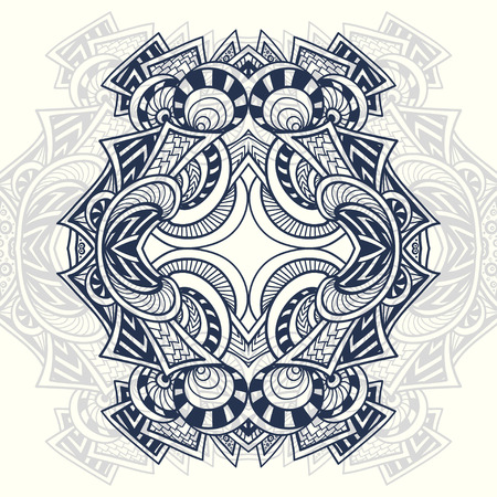 Abstract decorative element in  Zendoodle style black on white for coloring page, or adult relax coloring book for prints on T-Shirt or other things
