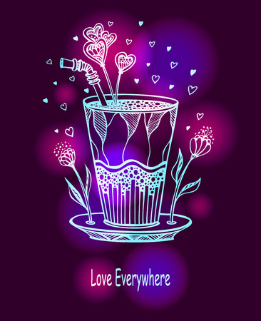 Handmade cocktail of loves in glass with hearts and flowers bright on dark background. Illustration