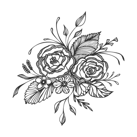 Hand drawn flowers bouquet black on white for decoration wedding invitation congratulation or for tattoo or for an adult relax coloring page or for decoration package of cosmetic perfume or others Vectores
