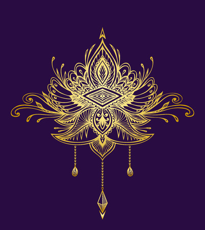 Abstract Zentangle Zendowle symbol in Boho Indian Asian Ethno style gold on black for decoration T-shirt or for other things