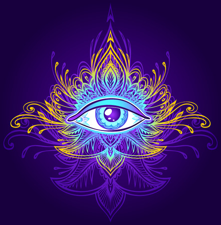 Abstract symbol of the All-seeing Eye in Boho. Concept magic occultism esoterics