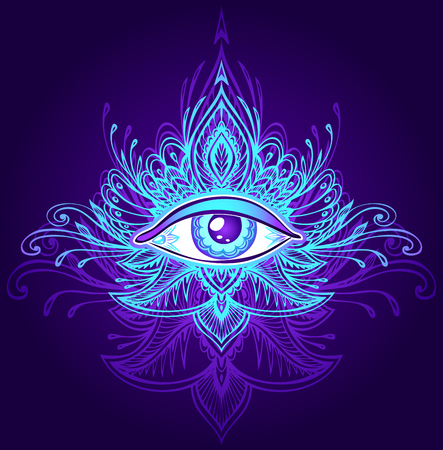 Abstract symbol of All-seeing Eye in Boho Indian Asian Ethno style blue lilac on dark for decoration T-shirt. Concept magic occultism esoterics