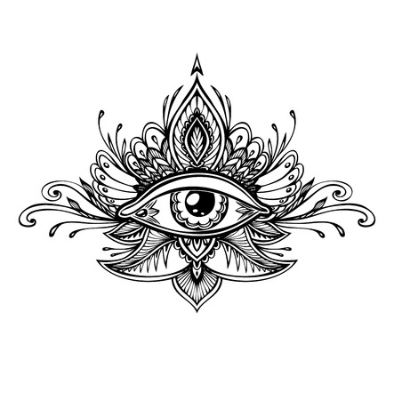 Abstract symbol of the All-seeing Eye in the Boho of the Asian Ethnic style of the tattoo. Concept magic occultism esoterics