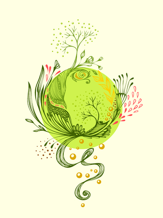 Abstract world with flowers. Symbolic composition. Metamorphosis of nature for using in ecological themes. Concept recirculation interrelation in the world of plants Ilustracja