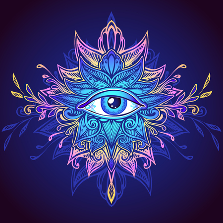 Abstract symbol of All-seeing Eye in Boho Indian Asian Ethnic style in blue lilac pink for decoration. Concept magic occultism esoteric. Computer games element