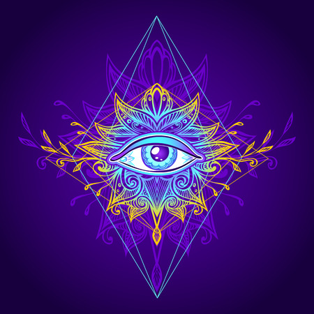 Abstract symbol of the all-seeing eye in boho. Concept magic occultism esoteric computer games element. Illustration