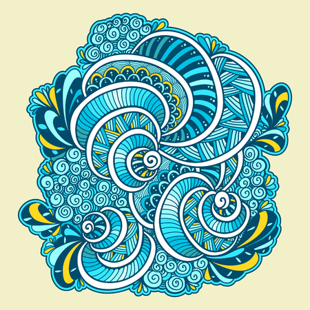 Abstract Zen tangle Zen doodle marine composition from shells blue color white for template of coloring page or adult coloring books for print Illustration