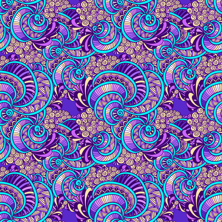 Abstract Zen doodle marine seamless pattern from shells lilac blue for decoration clothes for print and others. Illustration