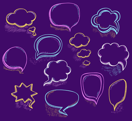Set Hand draw speech bubbles clouds with sketch chalk effect colorful in cartoon retro or pop art comics style made by trace