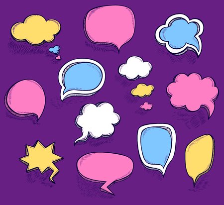 Set Hand draw speech bubbles clouds with sketch effect colorful in cartoon retro or pop art comics style made by trace