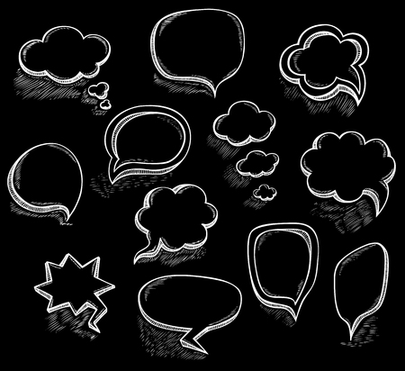 Set Hand draw speech bubbles clouds with sketch chalk effect in cartoon retro or pop art comics style made by trace