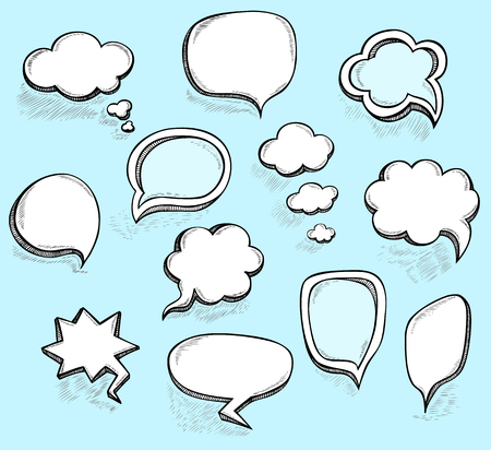 Set Hand draw speech bubbles clouds with sketch effect in cartoon retro or pop art comics style made by trace