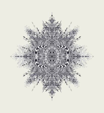 Vintage Abstract floral ornament Mandala black on white in Zen tangle style made by trace for creative design or tattoo or for decoration different things. East Arabic motive.