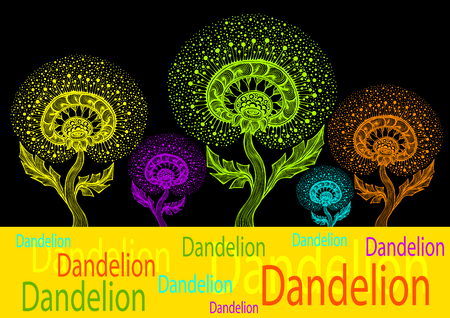 Template banner from Dancing Decorative Dandelion in Zen tangle style Illustration