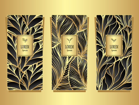 Set Template for package or flyer from luxury background made by foil leaves in black gold colors for cosmetic or perfume for sale Illustration