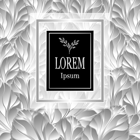 Template for package or flyer from luxury background made by foil leaves in silver colors for cosmetic or perfume