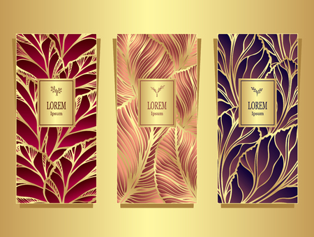 Set Template for package or flyer from luxury background made of foil leaves in gold red beige violet for cosmetic or perfume
