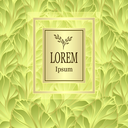 Template for package or flyer from a luxury background made by foil leaves in light green for cosmetic or perfume