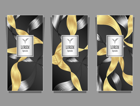 Set Template for package or flyer or label from Luxury background made by foil abstract ribbons waves hair in black gold for cosmetic or perfume or for hair