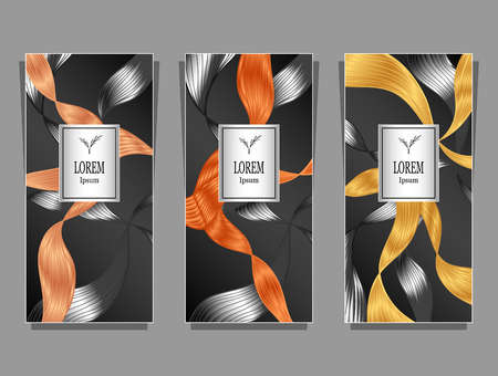 Set Template for package or flyer or label from Luxury background made by foil abstract ribbons waves hair in orange silver on black for cosmetic or perfume or for hair Vettoriali