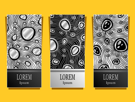 Set Template for package or flyer or label from Luxury background made by foil abstract ornament waves