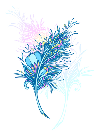 Decorative Feather in Zen doodle or Zen tangle Boho style colorful for tattoo or decoration T shirt Bag or bedclothes. Symbol of lightness elegance grace. Vetores