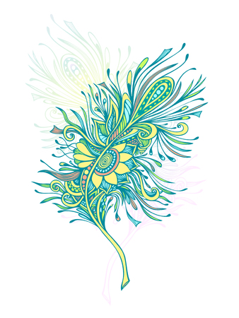 Decorative Feather in Zen doodle or Zen tangle Boho style colorful for tattoo or decoration T shirt Bag or bedclothes. Symbol of lightness elegance grace.