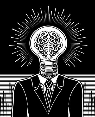 Glühbirne und Gehirn. Surrealistisches Konzept des Ideengenerators