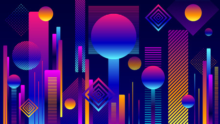 Abstract Futuristic Geometric City Background