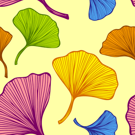 Beautiful bright seamless pattern with colorful leaves on yellow