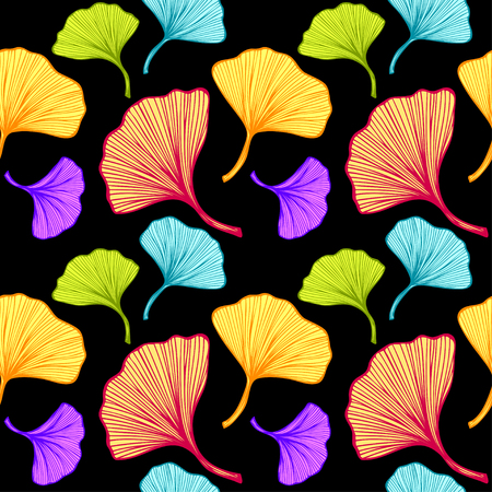 Beautiful bright seamless pattern with colorful leaves on black Illustration