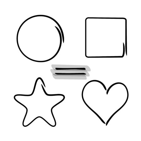 Set of shapes made by marker brushes