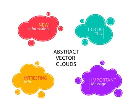 Set of  Abstract clouds or liquid shapes  or  banners or frames in colorful tone 矢量图像