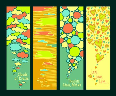 Set of abstract hand drawn banners with clouds bubbles and hearts in full colors