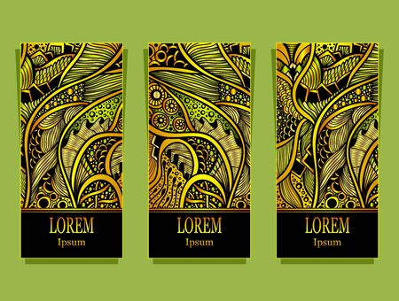 Set of templates with abstract floral texture in gold green colors