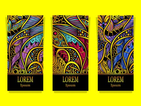 Set of templates with abstract floral texture in gold full colors