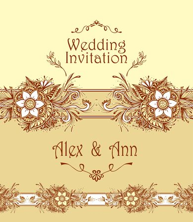Template Wedding Invitation or congratulation with abstract flowers or bouquet in beige white or for Post Card or for flourish decoration flyer or banner of cosmetic or perfume