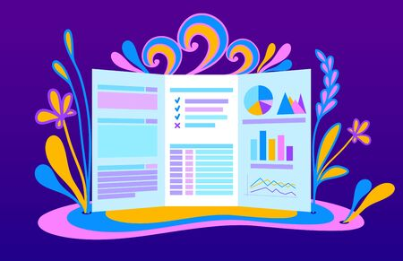 Template of Background with flyer for data analysis in flat style and with tables and graphs  and with  decoration from flowers leaves waves twisting