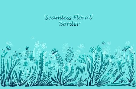 Background with seamless border in floral style in blue for banner or card or for decoration different things Illustration