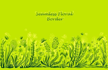 Background with seamless border in floral style in green for banner or card or for decoration different things 向量圖像